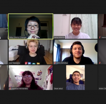 Zoom screenshot of meeting with students in Japan